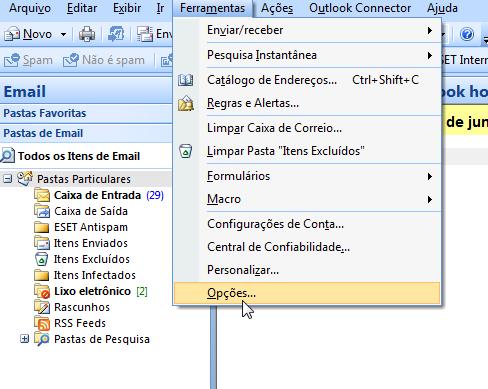 Para adicionar uma conta de email no Outlook - Opções