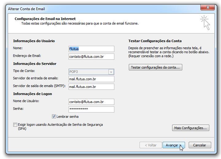 Para adicionar uma conta de email no Outlook - Avançar