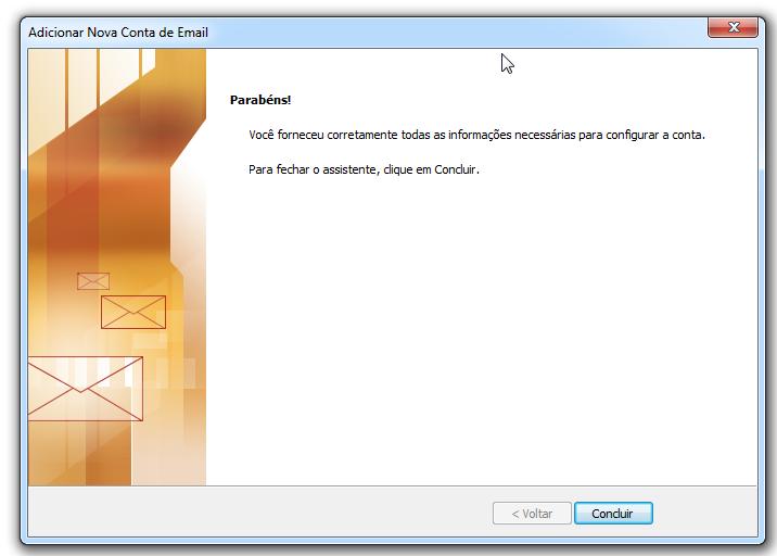 Para adicionar uma conta de email no Outlook - Concluir