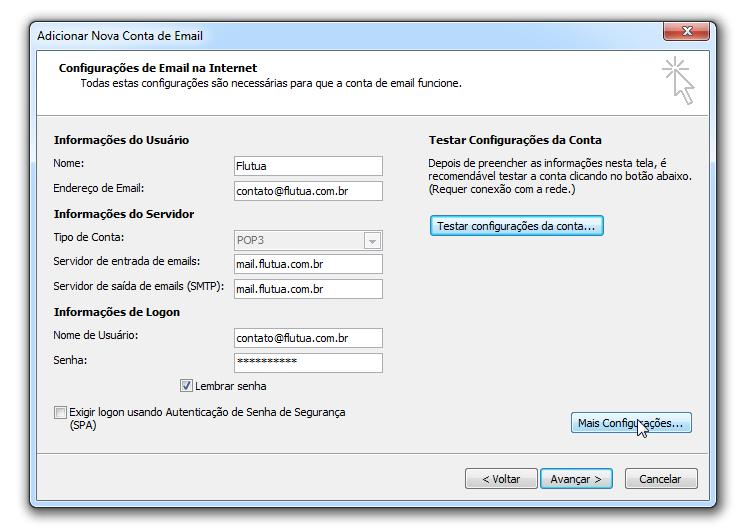 Para adicionar uma conta de email no Outlook - configuração email
