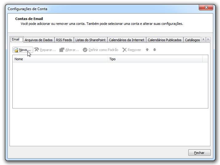 Para adicionar uma conta de email no Outlook - contas de email
