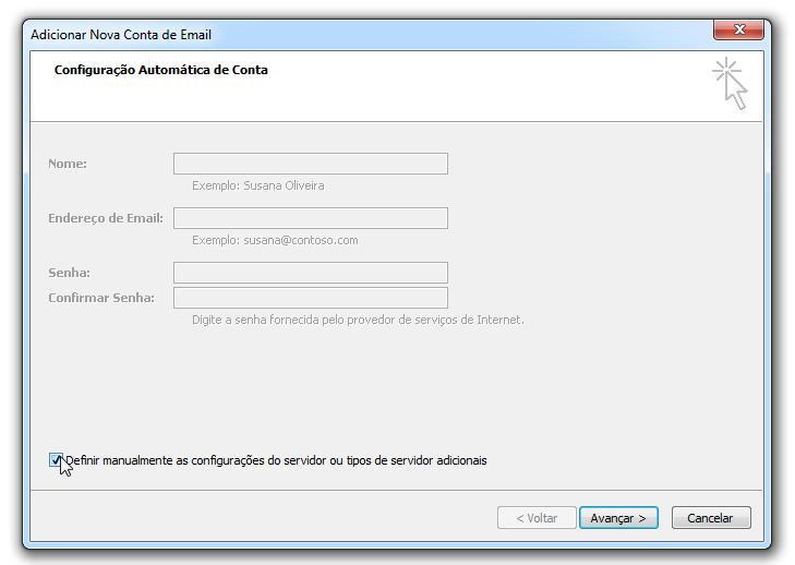 Para adicionar uma conta de email no Outlook - contas de email - definir manualmente