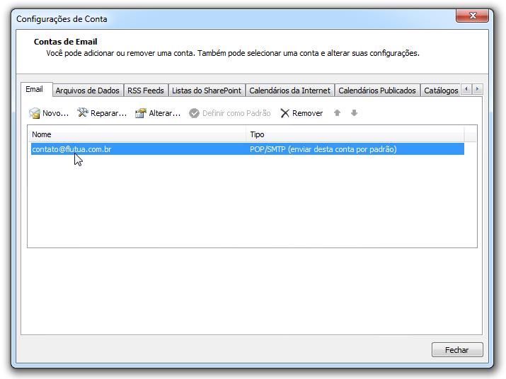 Para adicionar uma conta de email no Outlook - email criado