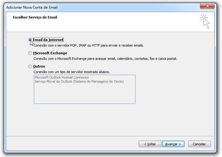 Para adicionar uma conta de email no Outlook - serviço de email