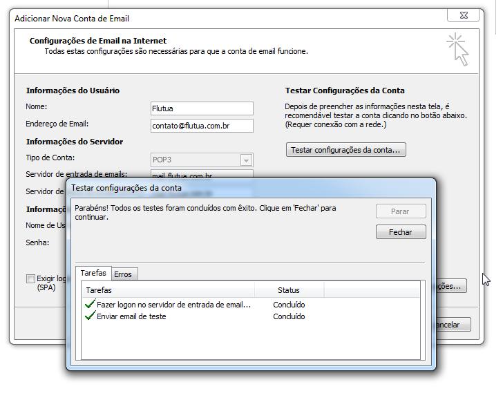 Para adicionar uma conta de email no Outlook - teste confirmado